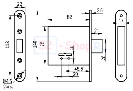 Замок врезной ПроСам 76501-ЗВ8-4 C/03 (б/п)