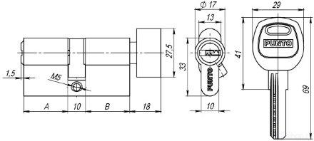 Цилиндровый механизм с вертушкой A202/90 mm (40+10+40) PB латунь 5 кл. PUNTO