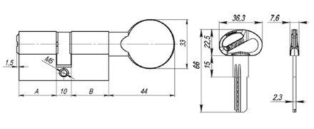 Цилиндровый механизм Fuaro (Фуаро) D-PRO502/70 mm (30+10+30) PB латунь 5 кл.