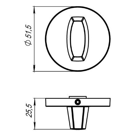 Ручка поворотная ARMADILLO WC-BOLT BK6 URS CP-8 Хром