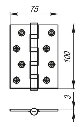 Петля универсальная 4500C (500-C4) 100x75x3 AC Медь Box