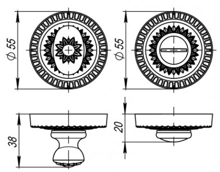 Ручка поворотная WC-BOLT BK6/CL-BB-17 Коричневая бронза