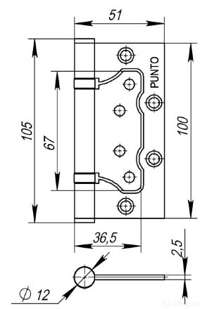 Петля универсальная без врезки PUNTO 200-2B 100x2,5 PB (латунь)