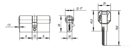 Цилиндровый механизм Z400/60 mm (25+10+25) PB латунь 5 кл. PUNTO