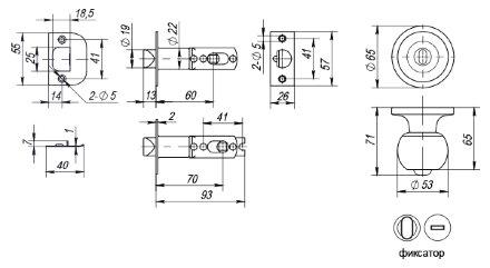 Ручка защелка Punto (Пунто) 6072 AC-B (фик.) медь