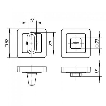 Ручка поворотная BK6 QR ABL-28 темная медь