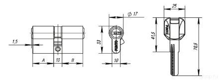 Цилиндровый механизм Z400/70 mm (30+10+30) PB латунь 5 кл. PUNTO