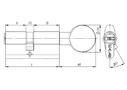 Цилиндровый механизм Kale kilit (Кале килит) с вертушкой 164 BM/80 (30+10+40) mm никель 5 кл.