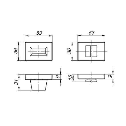 Ручка поворотная ARMADILLO WC-BOLT BK6 UCS MWSC-33 Итальянский тисненый