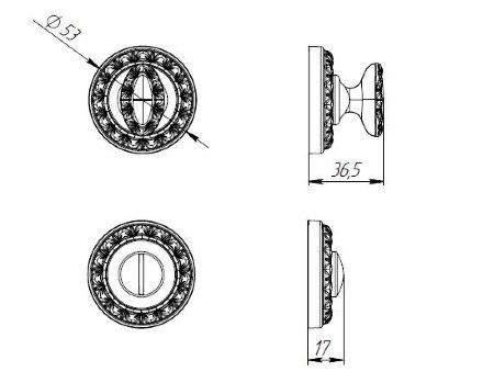 Ручка поворотная PUNTO BK6 MT OB-13 античная бронза
