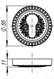 Накладка цилиндровая CYLINDER ET/CL-AS-9 Античное серебро 2 шт.