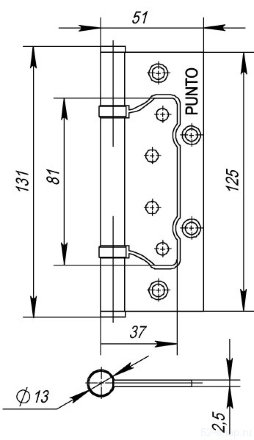 Петля универсальная без врезки PUNTO 200-2B 125x2,5 AC (медь)