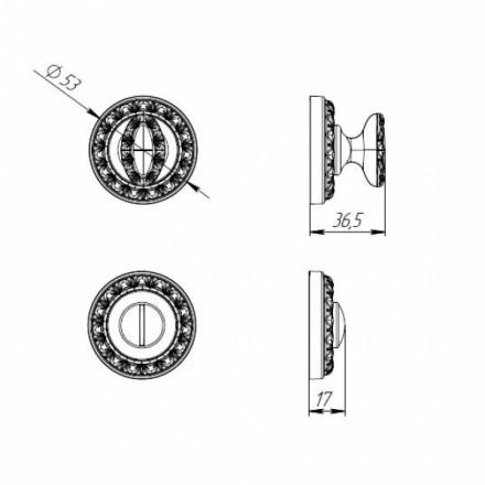 Ручка поворотная BK6 MT OS-9 античное серебро