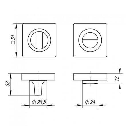 Ручка поворотная PUNTO BK6 ZQ GR-23 графит