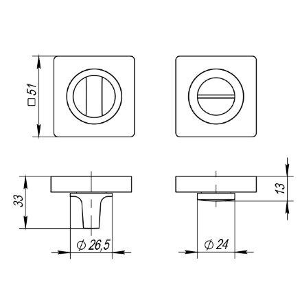 Ручка поворотная PUNTO BK6 ZQ SN/CP-3 матовый никель/хром