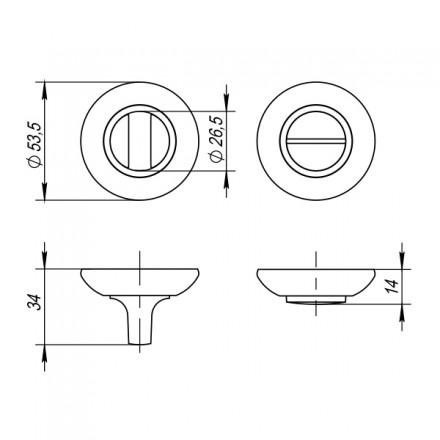 Ручка поворотная PUNTO BK6 ZR ABG-6 бронза