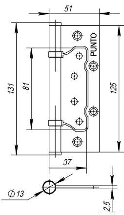Петля универсальная без врезки PUNTO 200-2B 125x2,5 WAB (мат. бронза)