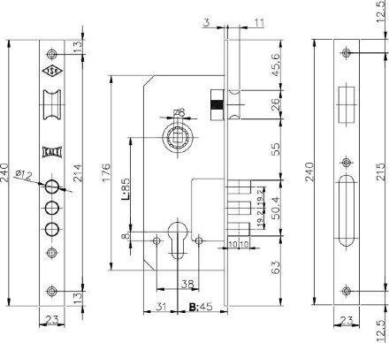 KALE 152/3MR (45 mm) w/b (латунь)
