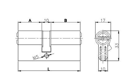 Цилиндровый механизм Kale kilit (Кале килит) 164 OBS SNE/80 (30+10+40) mm латунь 5 кл.