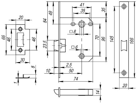 Защелка врезная Fuaro PLASTIC P72-50 GR графит