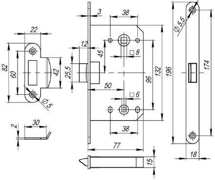 Защелка врезная Fuaro PLASTIC P96WC-50 GR графит
