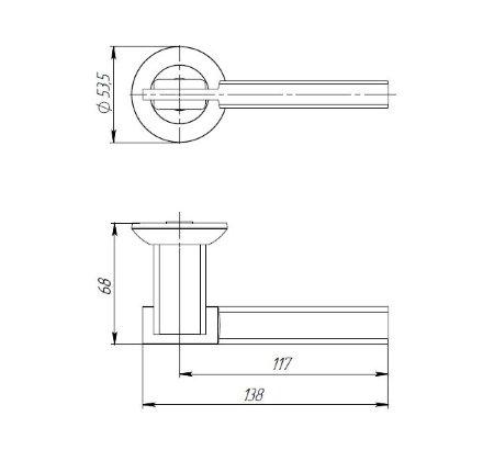 Ручка раздельная PUNTO CITY TL SN/CP-3 матовый никель/хром