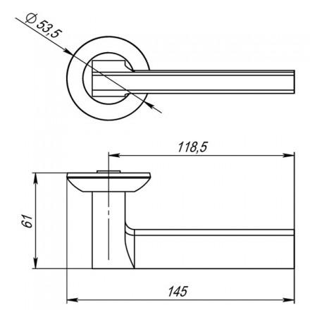 Ручка раздельная PUNTO BLADE TL SSC-16 сатинированный хром