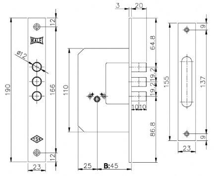 KALE 189/3MF (45 mm) (латунь) 5 кл.