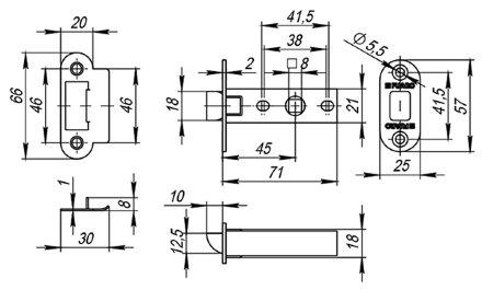 Защелка врезная Fuaro PLASTIC P22-45-25 GP латунь