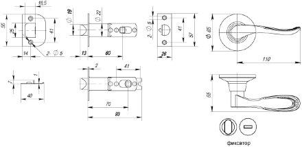 Ручка Punto (Пунто) защелка 6030 AB-B (фик.) бронза