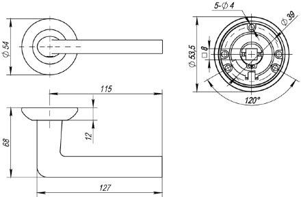 Ручка раздельная PUNTO REX TL SN/CP-3 матовый никель/хром 105 мм