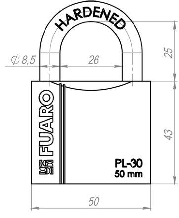 "Замок Fuaro (Фуаро) навесной PL-3050 (50 мм) 3 ""англ."" кл. БЛИСТЕР"