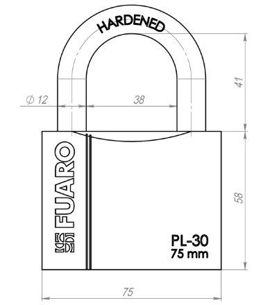 "Замок Fuaro (Фуаро) навесной PL-3075 (75мм) 3 ""англ."" кл. БЛИСТЕР"