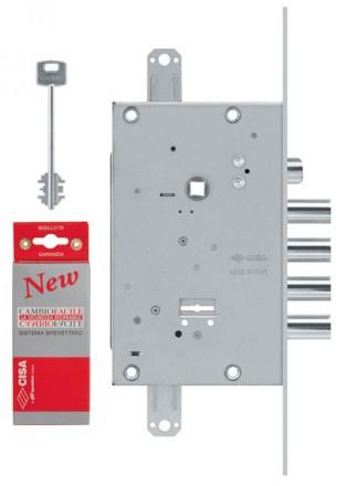 Замок врезной сувальдный с защёлкой NEW CAMBIO FACILE 57.685.48 (тех. упаковка), ключ 44 мм