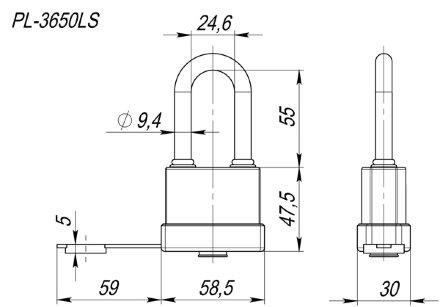 "Замок Fuaro (Фуаро) навесной PL-3650 LS (50 мм) 3 ""англ.""кл. (удлиненная дужка) БЛИСТЕР"