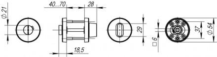 Ручка поворотная FUARO DSS-02-BK6 (нержавейка)