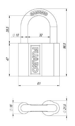 "Замок Fuaro (Фуаро) навесной PL-4061 (61 мм) 3 ""англ."" кл. БЛИСТЕР"
