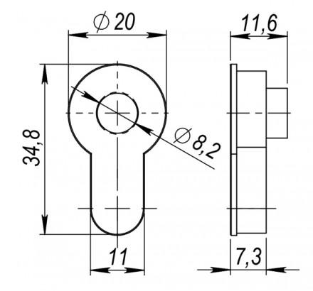 Вставка под шток для CYLINDER SN-3 мат.никель
