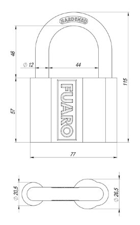 "Замок Fuaro (Фуаро) навесной PL-4080 (80 мм) 3 ""англ."" кл. БЛИСТЕР"