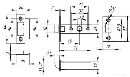 Защелка врезная FUARO PLASTIC P12-45-25 SN мат. никель