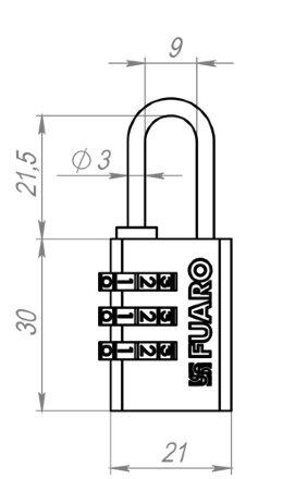 Замок Fuaro (Фуаро) навесной кодовый PL-3521 (21 мм) 3 кл. БЛИСТЕР