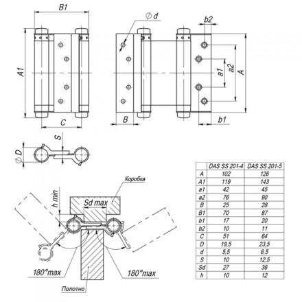 Петля пружинная двусторонняя DAS SS 201-5 (125*86*1.5) CP Хром