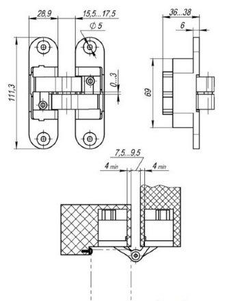 Петля скрытой установки с 3D-регулировкой Architect 3D-ACH 60 AB Бронза