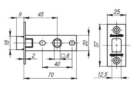 Защелка Armadillo (Армадилло) врезная LH 120-45-25 AB Бронза BOX /прям/
