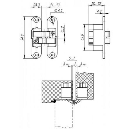 Петля скрытой установки с 3D-регулировкой Architect 3D-ACH 40 AB Бронза
