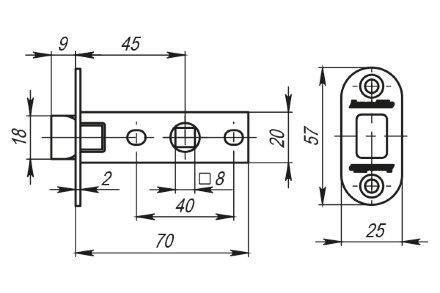 Защелка Armadillo (Армадилло) врезная LH 220-45-25 AB Бронза BOX /овал/