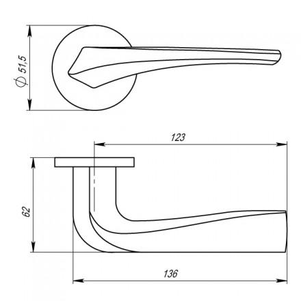Ручка раздельная FLAME URS BPVD-77 Вороненый никель