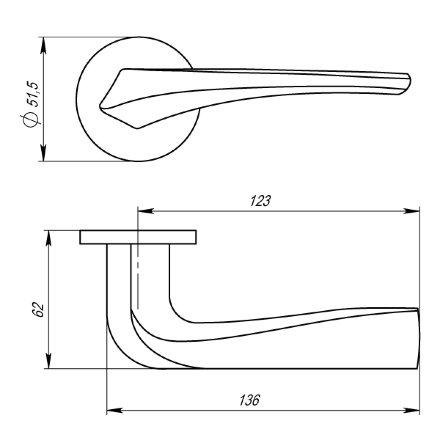Ручка раздельная FLAME URS SN-3 Матовый никель