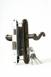 Замок врезной цилиндровый с защёлкой в комплекте с ручкой ЗВ4-3.02 (бронза), 4 кл.