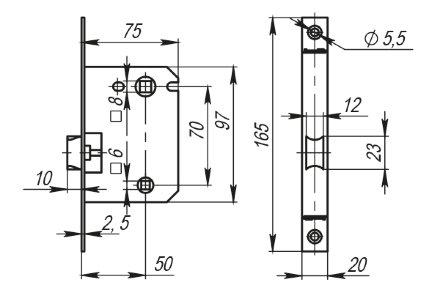 Защелка Armadillo (Армадилло) врезная LH 720-50 SN Мат. никель BOX на 70мм /прям/
